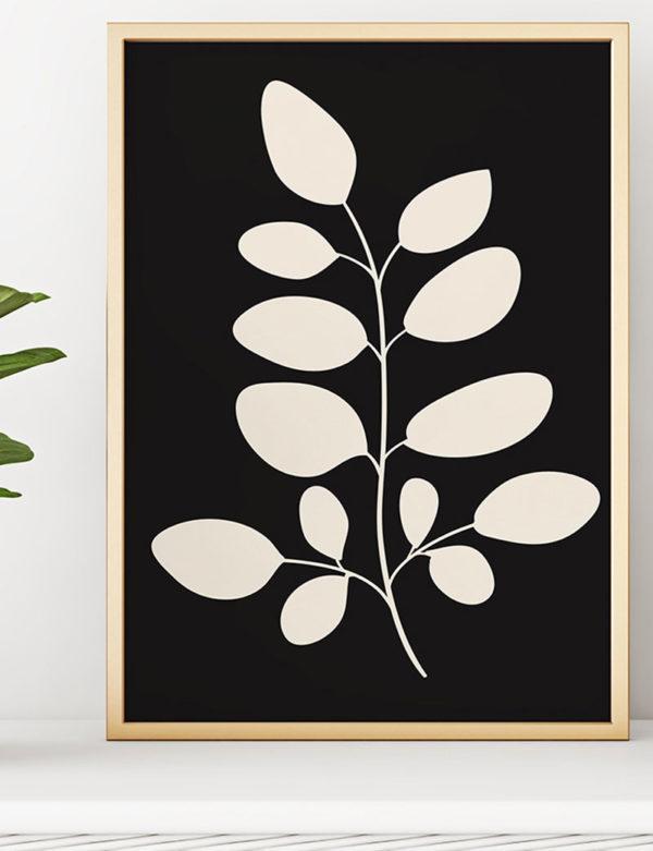 Siyah Beyaz Çiçekli Duvar Tablosu
