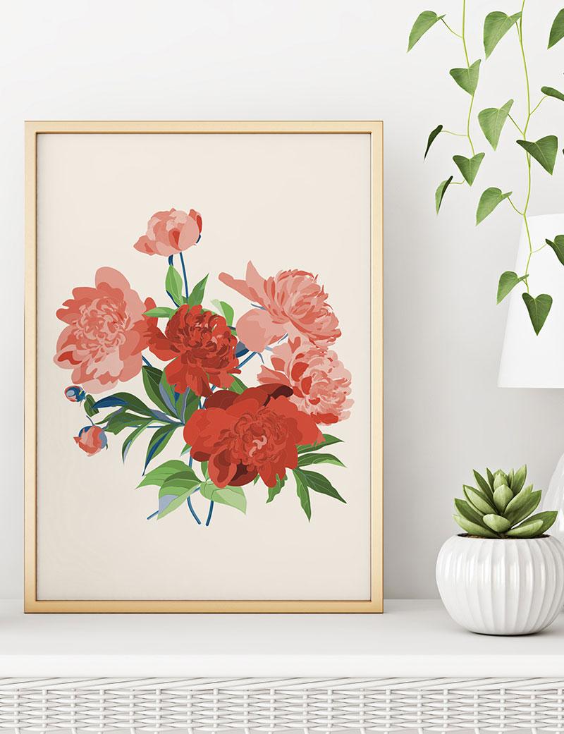 Kırmızı Çiçekli Duvar Tablosu