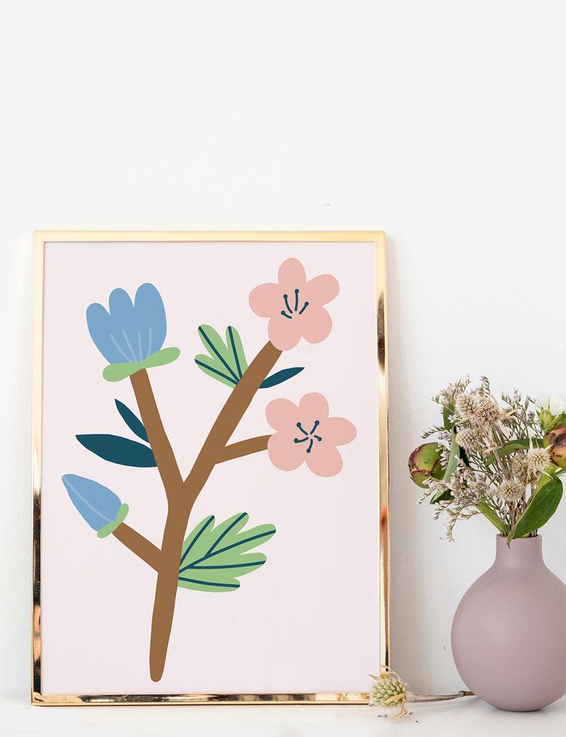 Pembe Çiçekli Duvar Tablosu