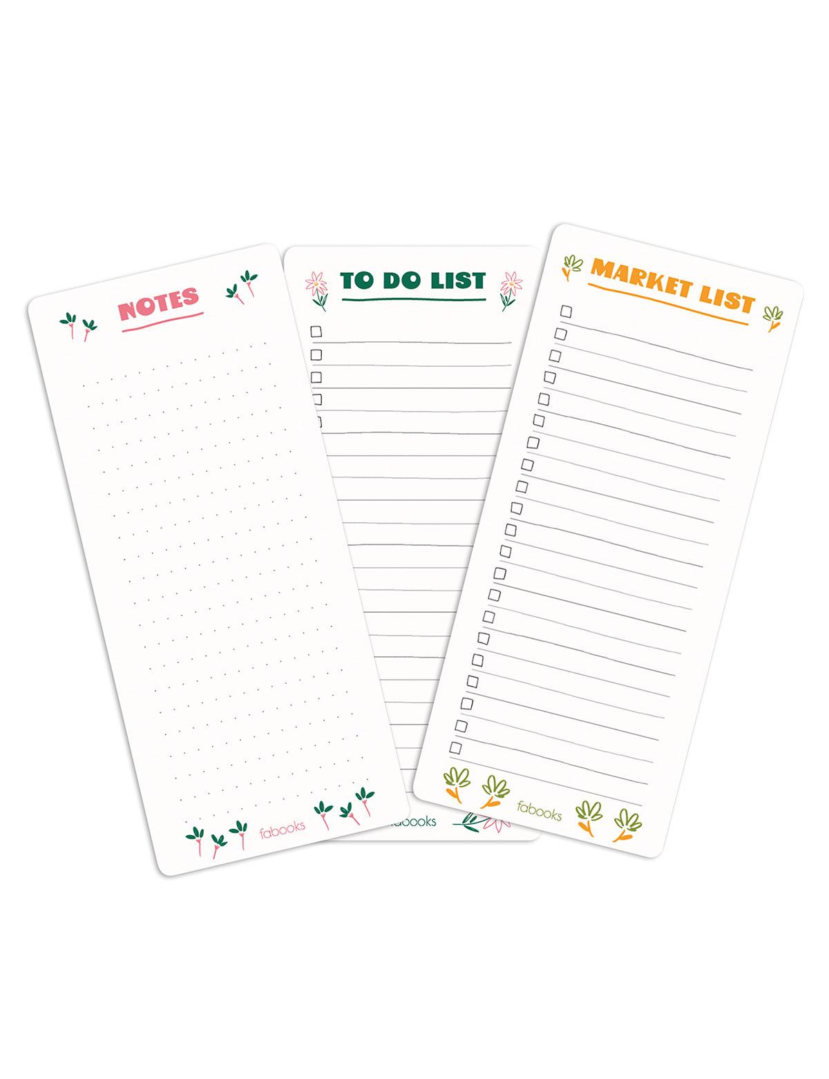 Mini Çiçekli Yapılacaklar Listesi, Market Listesi - 3'lü Bloknot Seti