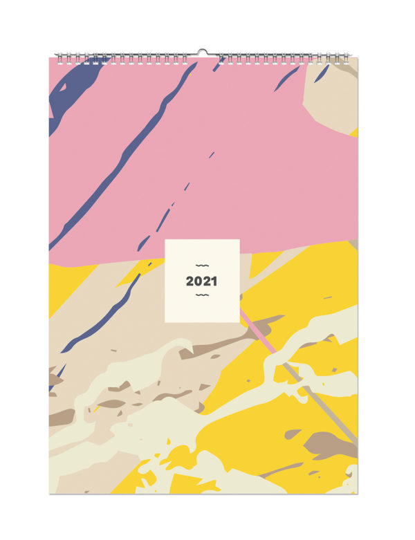 Geometrik Desenli A3 Aile Duvar Takvimi 2021